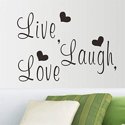 KIHUI Leben lachen Liebe Vinyl Zitate wandtattoosHome dekorative Aufkleber Aufkleber Home Decor abnehmbare DIY Wohnzimmer wandkunst (Leben, Lieben, Lachen Bilderrahmen)