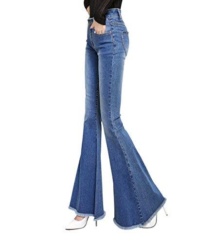 Mena UK Retro Frauen hohe Taille 60er Jahre 70er Jahre Vintage Style Denim Bell-Bottom Quasten Flared Jeansor ( Farbe : Blau , größe : S(Waist=66cm) (Jahre Bottoms 70er Bell)