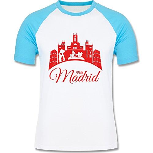 Skyline - Skyline Madrid Spain Spanien - zweifarbiges Baseballshirt für Männer Weiß/Türkis