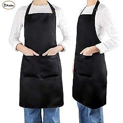Laxstory Schürze 2 Stück Kochschürze Küchenschürze Latzschürze mit Verstellbarem Nackenband für Herren, Damen, Köche, schwarz