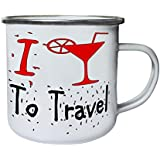 Nuevo I Love Travel Cocktail Retro, lata, taza del esmalte 10oz/280ml l739e
