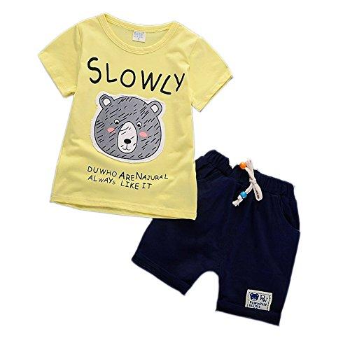 Baby Boy Sommer Outwear Kleidung Set Outfit Kurzarm T-Shirt und kurze Hose für 6 Monate bis 4 Jahre alt (Fett Outfit)