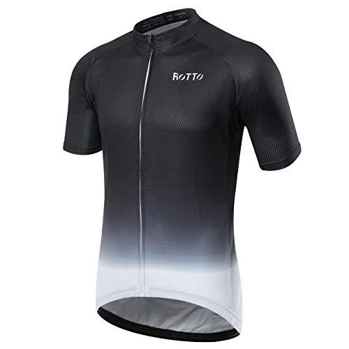ROTTO Radtrikot Herren MTB Rennrad Trikot Kurzarm Fahrradbekleidung (A Schwarz-Weiß, L) -