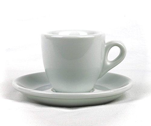 Moka Consorten Extra dickwandige Espressotassen   0,8 cm Tassenwand   Füllmenge (bis zur Oberkante): 56 ml   weiß   1 Tasse & 1 Untertasse