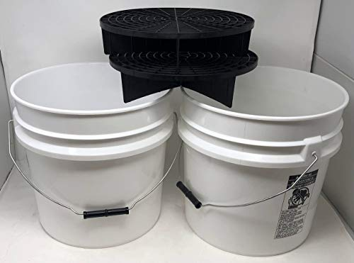 AUTO RAE-CHEM 2 x Grit Guard Shield Car Wash Bucket Set Short 17L