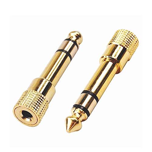 Ndier Qualität Kopfhörer Adapter Stereo Gold Stecker 1/4 Zoll Mal bis 1/8 Zoll Female Kopfhörer Adapter 3,5 mm auf 6,5 Stecker Audio Adapter Gold überzogen Autozubehör Gold 3,5 Mm Audio