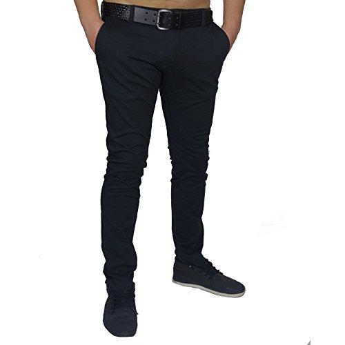 Herren Chinohose Regular Stil Rerock Chino Business Hose Jeans legere Slim Fit Länge 32 Schwarz