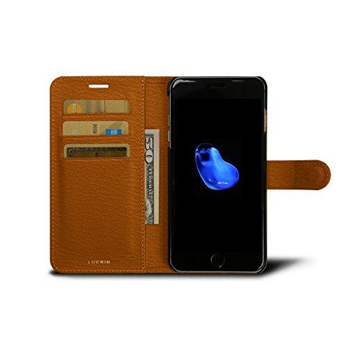 Lucrin - Schutzhülle für das iPhone 7 Plus - Himmelblau - Ziegenleder Safrangelb