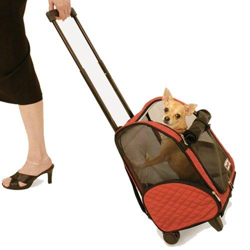 Snoozer Roll Around 4-in-1-Transporttasche für Haustiere, rot & schwarz, groß von Snoozer