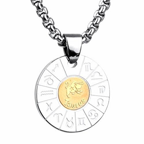 COPAUL Schmuck Edelstahl Tierkreis Sternzeichen Stier Anhänger Kette Halskette für Herren Damen, Gold Silber
