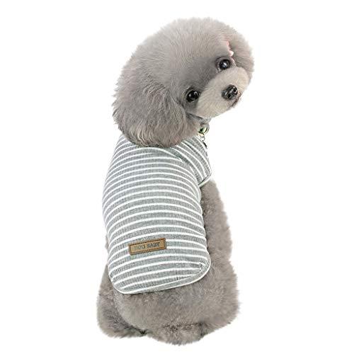 EUZeo Schön Haustierbekleidung für Kleiner Hund Kleine Katze Pet Frühling und Sommer Einfarbig Streifen Hund Shirt Kostüme Haustier Hund Kleidung Weste Kleidung für Hunde Katze