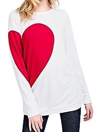 Landfox Camisa Manga Larga Para Mujer,Día de San Valentín de Regalo de Las Mujeres