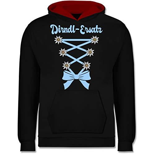 Shirtracer Oktoberfest Kind - Dirndl-Ersatz Korsage - hellblau - 7-8 Jahre (128) - Schwarz/Rot - JH003K - Kinder Kontrast - Girl Blue Link Kostüm