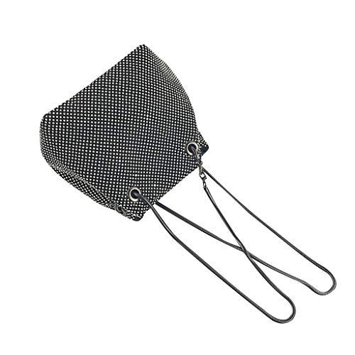 Fendi Schwarze Mini-bag (NMERWT Frauen Schultertasche Mode Abendtasche Net Sequins Skewed Bucket Bag Handtasche Chain Bag Bling Pailletten Eimer kleine Umhängetasche)