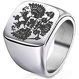 Bulaouz Herren Russisch National Emblem Titan Stahl Doppelt Ging voran Adler Logo Schmuck Ringe Silber,Größe 65 (20.7)