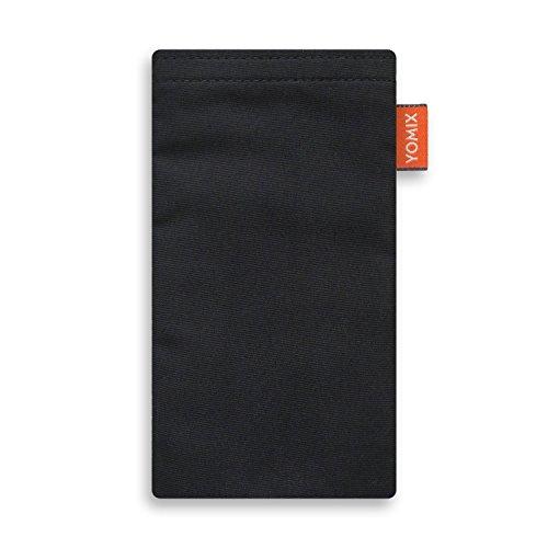 YOMIX Handytasche | Tasche | Hülle VIIVI Schwarz mit Strahlenschutz für Motorola Moto X Force aus Microfaser mit genialer Display-Reinigungsfunktion durch Microfaserinnenfutter