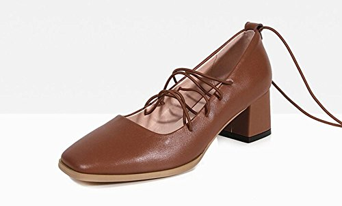 Beauqueen Toes Scarpin Ties quadrati pompe delle donne grosso tacco basso Primavera Estate Scarpe casual da sposa Work Europe formato 34-39 light brown