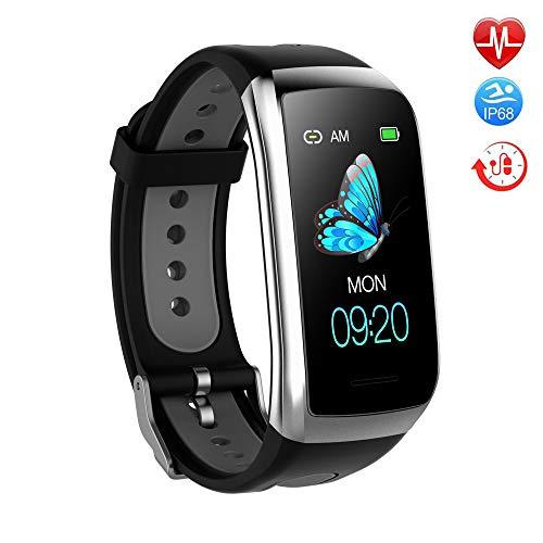 TwobeFit Fitness Armband mit Pulsmesser Fitness Tracker Smartwatch Blutdruckmesser Wasserdicht IP68 Aktivitätstracker Schrittzähler Sport Uhr Stoppuhr Damen Herren Anruf SMS für iPhone Android (Black)