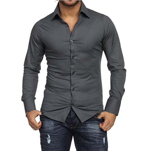 Chemise manches longues unie homme Coupe slim fit Business Antharcite