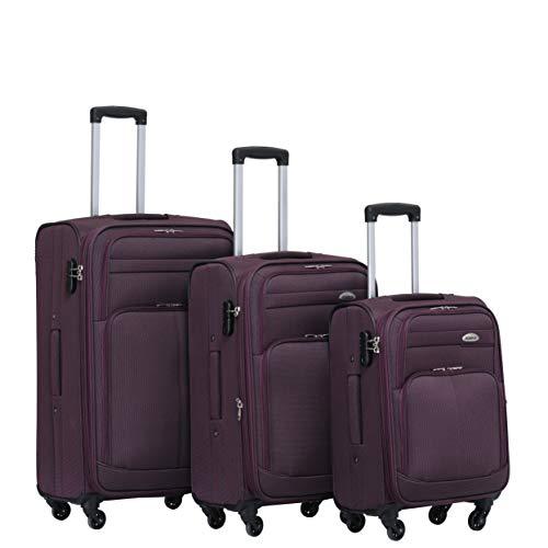 BEIBYE 4 Rollen Reisekoffer 3tlg.Stoffkoffer Handgepäck Kindergepäck Gepäck Koffer Trolley Set-XL-L-M (Violett, Set)
