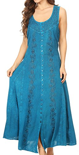 Sakkas 15221 – Maya Floral Embroidered Sleeveless Button up Rayon Dress – Turquoise – 1X/2X