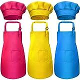 Conjunto de Delantal Sombrero de Cocinero de Niños de 6 Piezas, Delantales de Algodón Ajustables de Cocina de Niños Niñas con 2 Bolsillos para Vestido de Cocina Repostería (Color 3, Small)