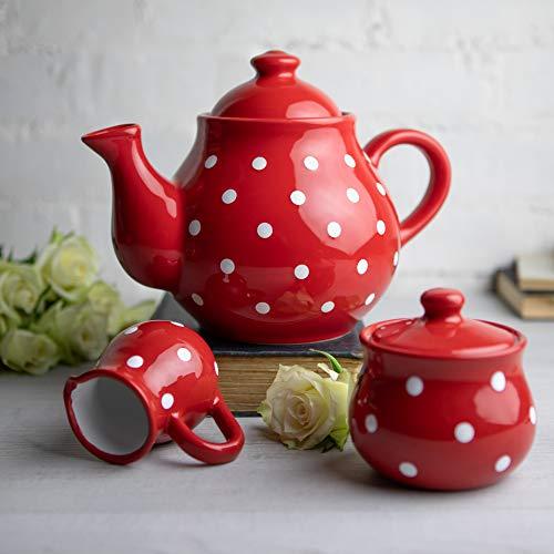 City to Cottage | Service à thé | rouge à pois blancs en céramique fait et peint à la main | grande théière 1,7L 4-6 tasses, pot à lait, sucrier