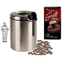 Edelstahldose 1000g Xavax Kaffeedose Tee mit Aromaverschluss luftdicht f/ür 1kg Kaffeebohnen Kakao Silber +Eduscho Gala Espresso Ganze Bohne Beh/älter f/ür Kaffee