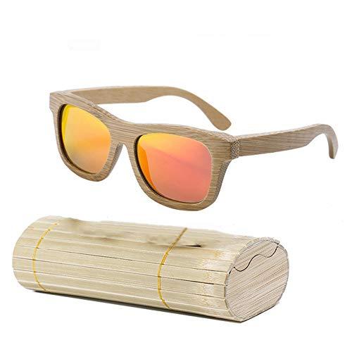 Selotrot Sonnenbrille für Damen und Herren, Holz, Bambus, polarisierte Beschichtung, Gläser mit Etui - rot