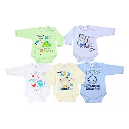 TupTam Baby Langarm-Body mit Aufdruck Spruch Babybody Mädchen Bodys Jungen im 5er Pack, Farbe: Junge, Größe: 98