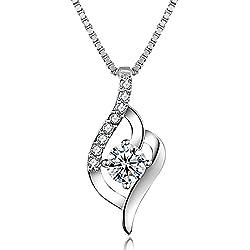 J.Vénus Damen Schmuck, Halskette Silber mit Anhänger 925 Sterling Silber Zirkonia 45cm / Kette, Schmuck mit Etui (ewige Liebe - weiß)