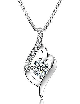 J.Vénus Damen Schmuck, Halskette Silber mit Anhänger 925 Sterling Silber Zirkonia 45cm / Kette, Schmuck mit Etui...