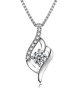 J.Vénus Damen Schmuck, Halskette Silber mit Anhänger 925 Sterling Silber Zirkonia 45cm / Kette, Schmuck mit Etui (ewige Liebe – weiß)
