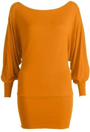 Womens Big Size Plus Size Off Shoulder/One Shoulder Jersey Batwing Top / Size 14-18 - £7.99 (L/XL - UK(14-16), Mustard)