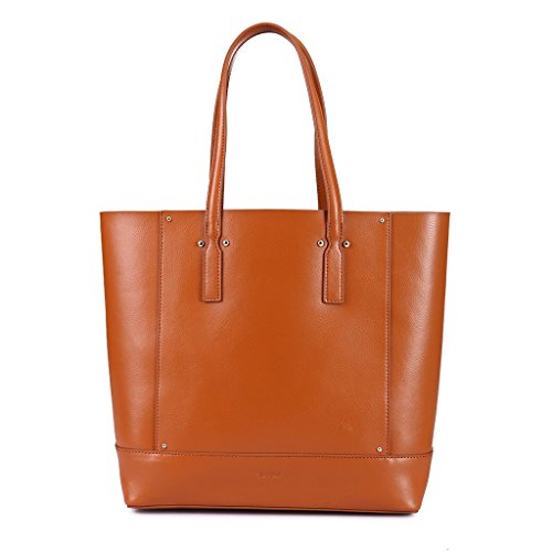 Borsa donna shopping bag a spalla in vera pelle Shopper con interno staccabile DUDU Marrone