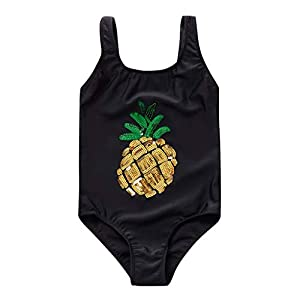 Kanpola 2020 Toddler Kids Baby Girls Pineapple Print Swimsuits One Pieces Girls Swimwear Clothes (7-8 Years, Black)