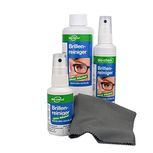 bio-chem Brillenreiniger Sparset 50 ml + 100 ml Sprayflasche + 250 ml Nachfüllflasche (400 ml) + hochwertiges Mikrofasertuch