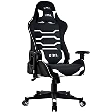 UMI. Essentials Gaming Chair Ergonomic Computer Chair with Adjustable Height, Headrest and Lumbar Support (White)