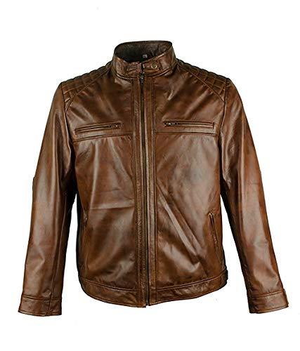 Amo Distro Herren Motorradjacke Cafe Racer Vintage Biker braun Lammleder Jacke Gr. L, braun -