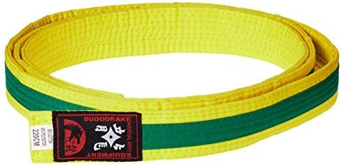 Karategürtel gelb, grüner Mittelstreifen Judogürtel Taekwondogürtel