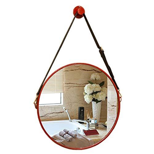 Dekorativer Spiegel - (50cm) Wand-runder Kosmetikspiegel Roter Metallrahmen mit Lederschlinge Einfache und dennoch Elegante Spiegel für Eingangsbereiche