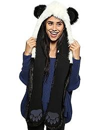 Petalum Gants à Capuche Chaud d Hiver des Femmes Pocket Hat Echarpe 3-en 8ba8a1dc1d6