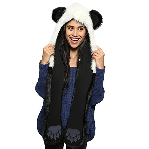 Winter Warm Kapuzenschal Handschuhe Plüsch Tiere Bär Panda Wolf Paws Ohren Fellmütze ()