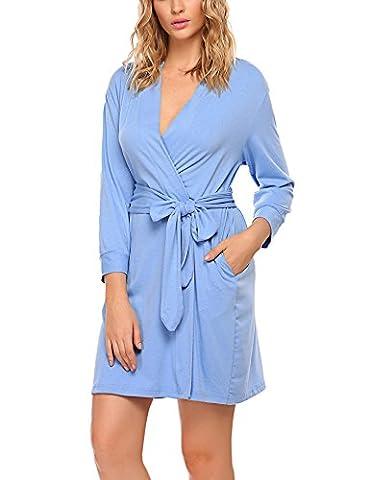 HOTOUCH Womens Cotton Robe Soft Kimono Robes Knit Bathrobe Loungewear Sleepwear Short Sky Blue M