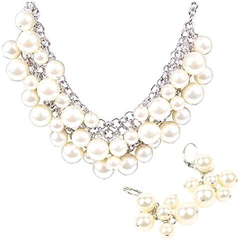 Set: collana girocollo collana di perle + orecchini di cristalli Swarovski bianco classico