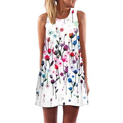 COZOCO 2019 HeißEr A-Line Dress Frauen Vintage Boho Dress Sommer äRmelloses Strand Dress Gedruckt...