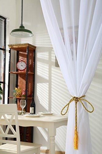 WOLTU VH5515ws Gardine Vorhang transparent mit 50mm KRÄUSELBAND Stores Schal Fensterschal Dekoschal Voile 140×225 cm Weiß - 2