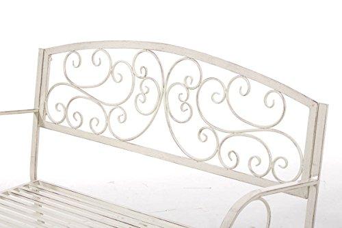 CLP Gartenbank AZAD im Landhausstil, Eisen lackiert, ca 110 x 50 cm Antik Creme - 4
