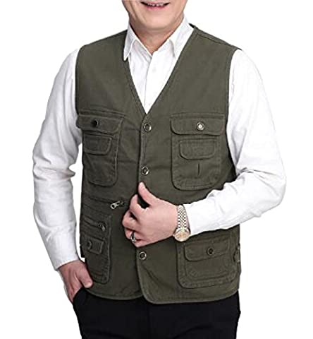 GLF Middle-aged And Large-scale Canvas Spring And Autumn Section Of The Network Men's Multi-pocket Fishing Photography Vest Daddy Vest Male