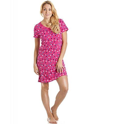 CAMILLE Damen Nachthemd für den Sommer weiche Baumwolle Prints 46/48 Vibrant Pink Polka Dot
